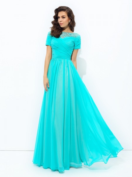 A-Line/Princess Bateau Short Sleeves Floor-Length Chiffon Evening Dress with Lace