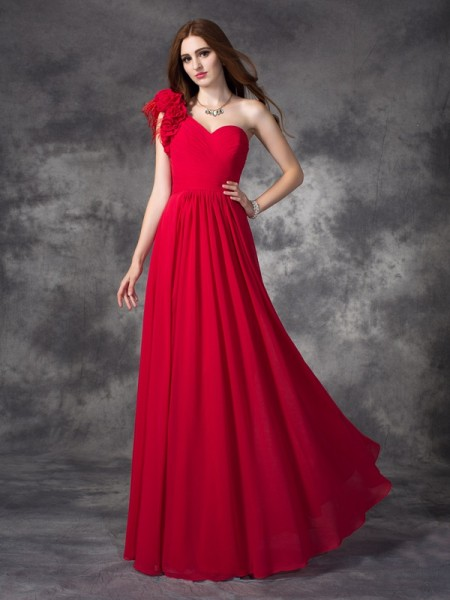 A-line/Princess One-Shoulder Sleeveless Floor-Length Chiffon Prom Dress with Hand-Made Flower