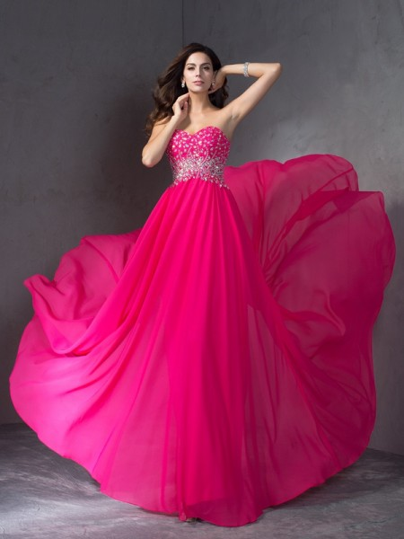 Princess Sweetheart Sweep/Brush Train Chiffon Prom Dress with Beading