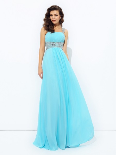 A-Line/Princess Straps Sleeveless Floor-Length Chiffon Prom Dress with Sequin