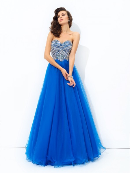 A-Line/Princess Sweetheart Sleeveless Floor-Length Net Prom Dress with Sequin