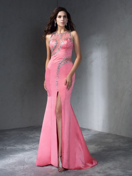 Trumpet/Mermaid Scoop Sleeveless Sweep/Brush Train Satin Prom Dress with Beading