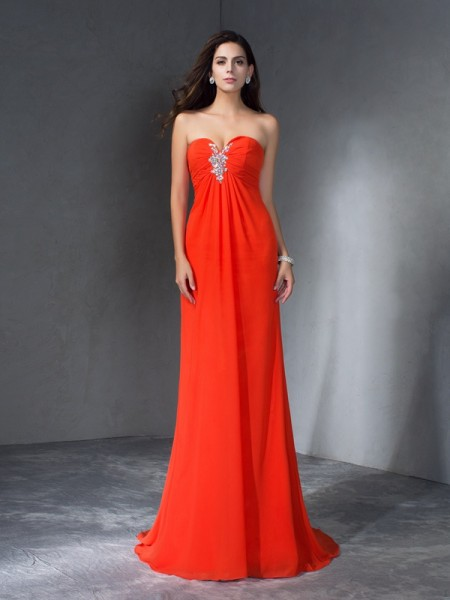 A-Line Sweetheart Sleeveless Sweep/Brush Train Chiffon Prom Dress with Beading