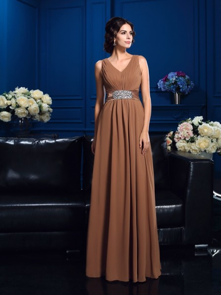 A-Line/Princess V-neck Sleeveless Chiffon Floor-Length Mother Of The Bride Dress