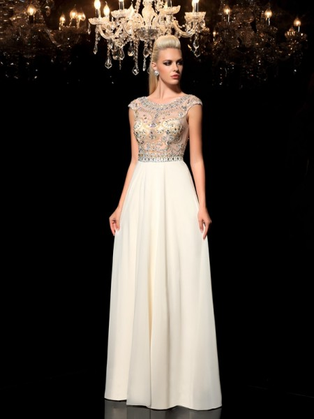 A-Line/Princess Sheer Neck Sleeveless Floor-Length Chiffon Evening Dress with Rhinestone