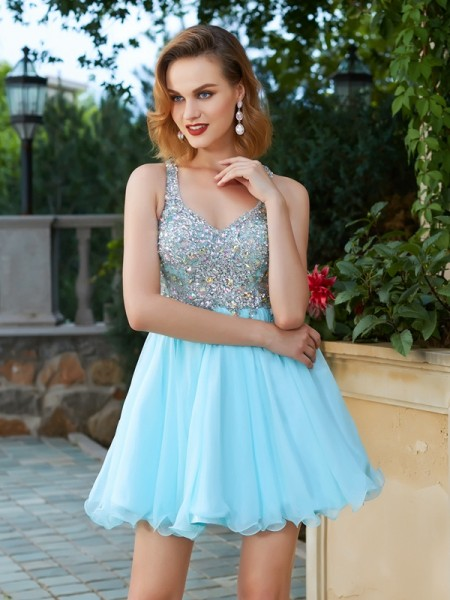 A-Line Sleeveless Straps Short Chiffon Dresses with Rhinestone