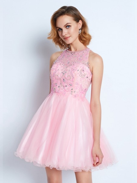 A-Line Sleeveless Jewel Short Net Dresses with Ruffles