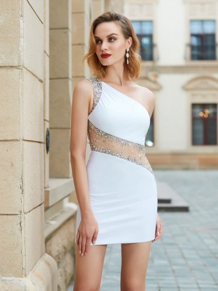 Sheath/Column One-Shoulder Short Net Dresses with Beading