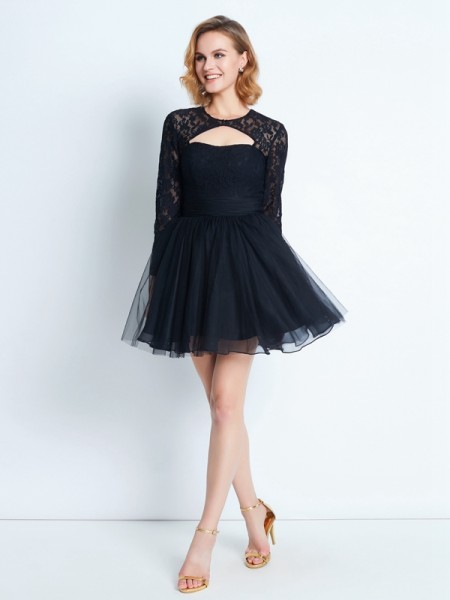 A-Line High Neck Long Sleeves Short Net Dresses with Lace