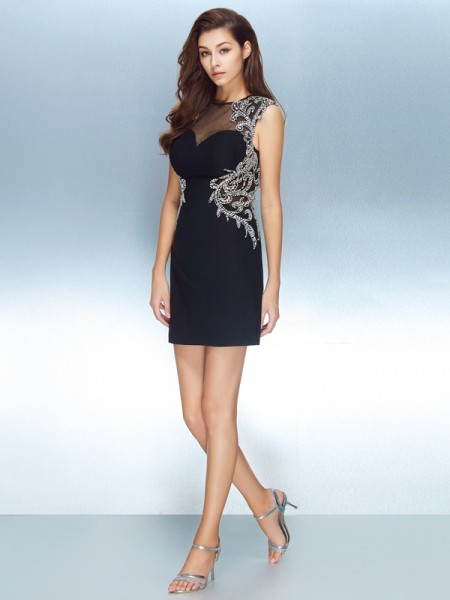 Sheath/Column Jewel Short Sleeves Net Short Dresses with Crystal