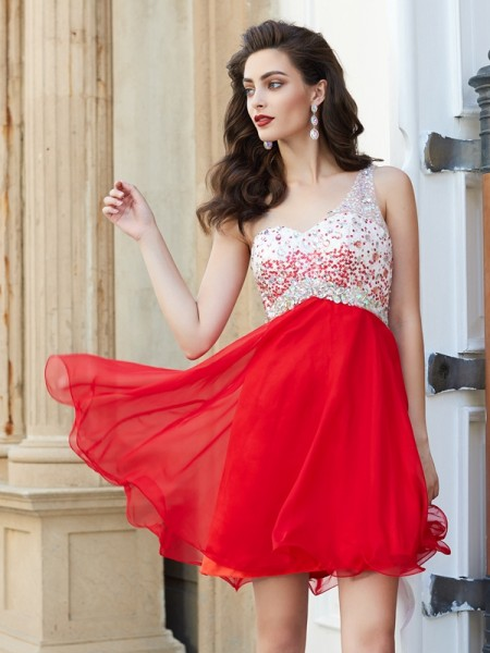 A-Line One-Shoulder Sleeveless Chiffon Short Dresses with Beading
