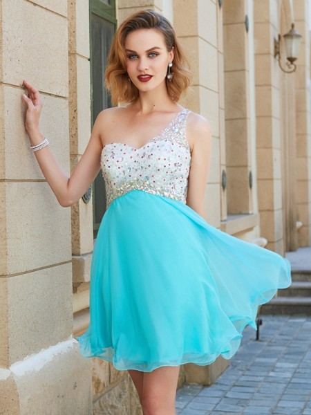A-Line Sleeveless One-Shoulder Chiffon Short Dresses with Beading