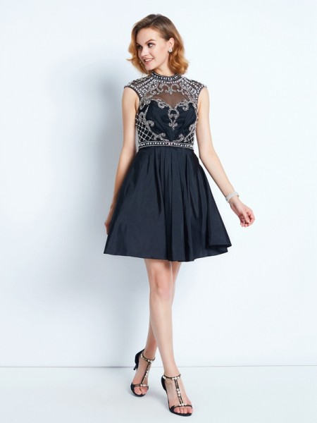 A-Line Sleeveless High Neck Short Satin Dresses with Beading