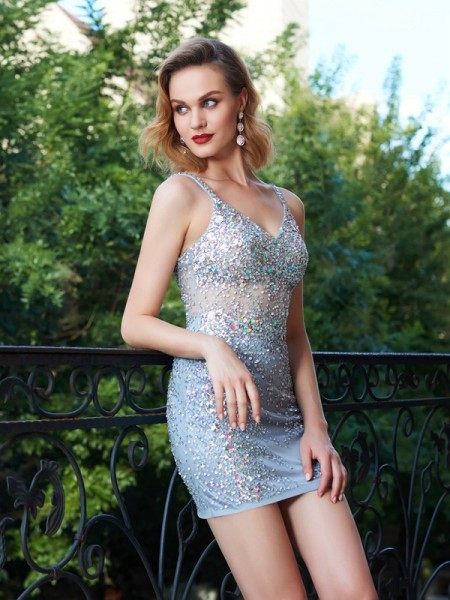 Sheath/Column Spaghetti Straps Sleeveless Net Short Dresses with Sequin