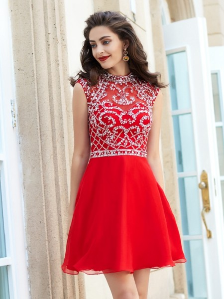 A-Line High Neck Sleeveless Short Chiffon Dresses with Beading