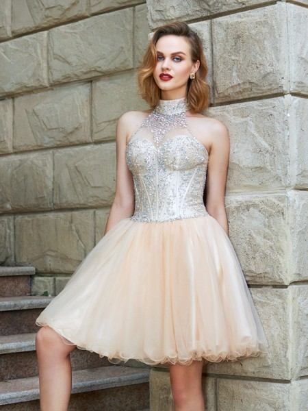 A-Line Halter Sleeveless Net Short Dresses with Beading