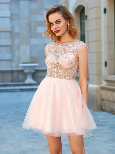 A-Line Scoop Net Short Sleeves Short Dresses with Beading