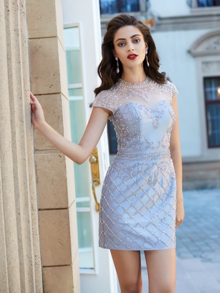 Sheath/Column Jewel Short Sleeves Satin Short Dresses with Beading