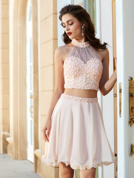A-Line Halter Sleeveless Chiffon Short Two Piece Dresses with Beading