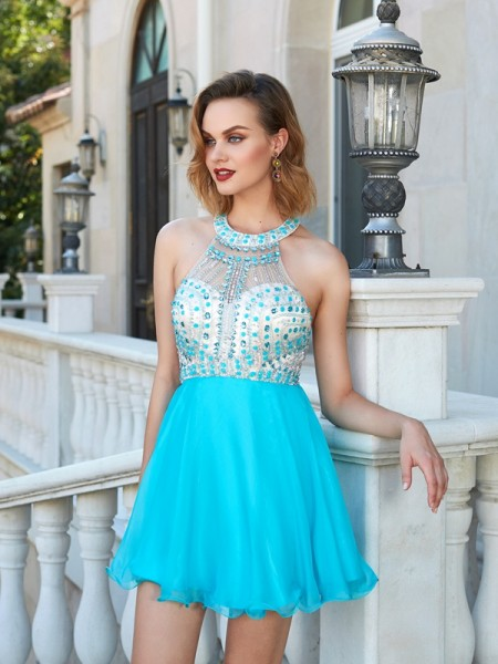 A-Line Halter Sleeveless Chiffon Short Dresses with Beading