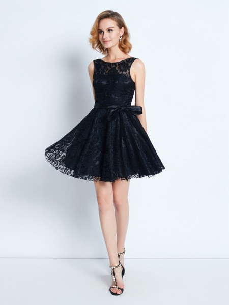 A-Line Scoop Lace Sleeveless Short Dresses with Sash/Ribbon/Belt