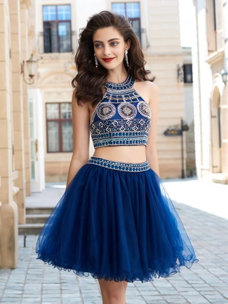 A-Line Jewel Beading Short Net Homecoming Dresses