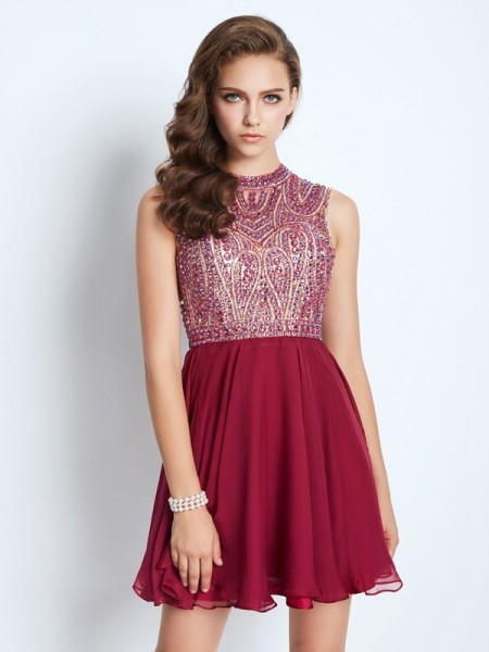A-Line Jewel Sleeveless Chiffon Short Dresses with Beading