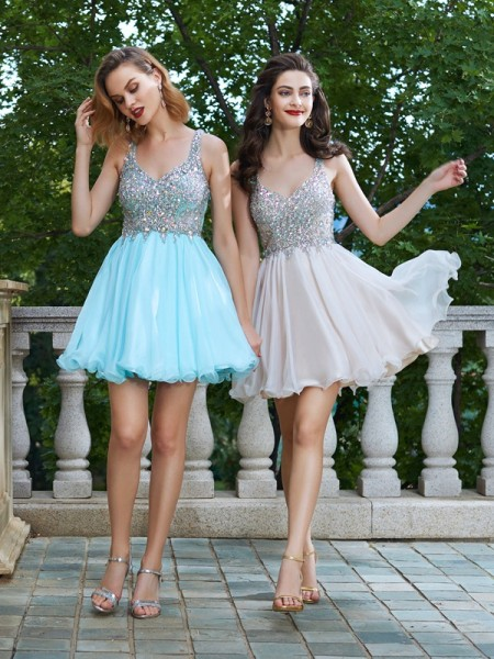 A-Line Straps Sleeveless Short Chiffon Dresses with Rhinestone