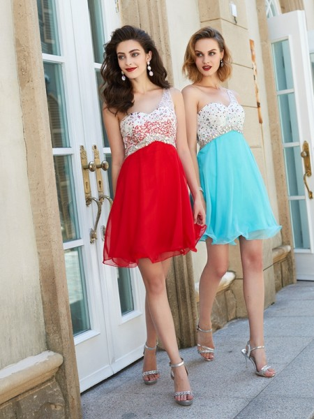 A-Line Chiffon One-Shoulder Sleeveless Short Dresses with Beading