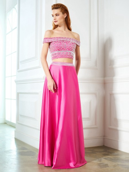 A-Line/Princess Off-the-Shoulder Sleeveless Satin Floor-Length Two Piece Dress with Beading