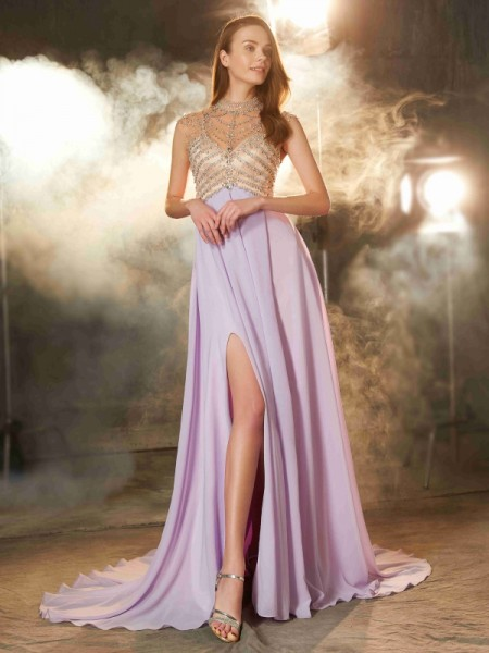 A-Line/Princess High Neck Sleeveless Sweep/Brush Train Chiffon Dress with Crystal