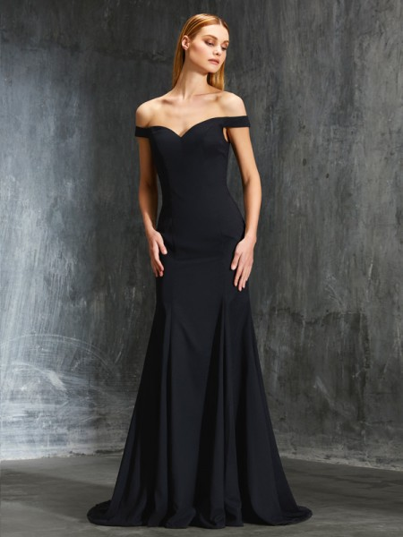 Trumpet/Mermaid Off-the-Shoulder Sleeveless Sweep/Brush Train Satin Dress with Ruffles