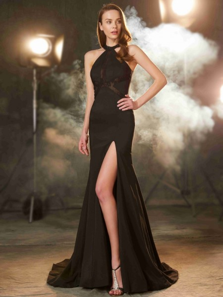 Sheath/Column Jewel Sleeveless Sweep/Brush Train Elastic Woven Satin Dress with Beading
