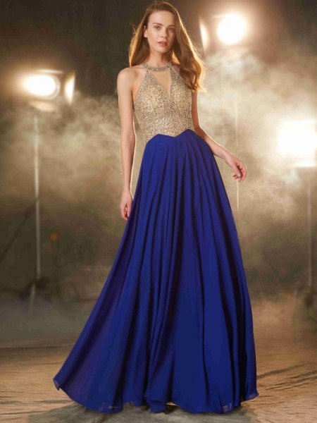 A-Line/Princess Scoop Sleeveless Floor-Length Chiffon Dress with Crystal