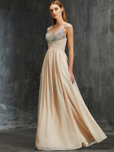 A-Line/Princess Spaghetti Straps Floor-Length Chiffon Dress with Beading