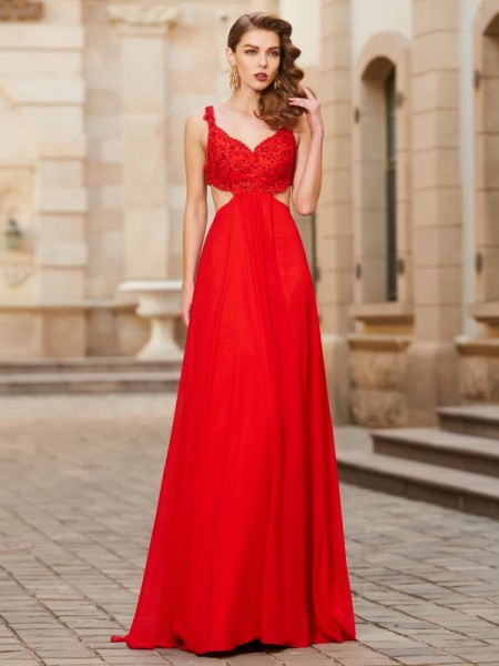 A-Line/Princess Straps Sleeveless Floor-Length Chiffon Dress with Applique