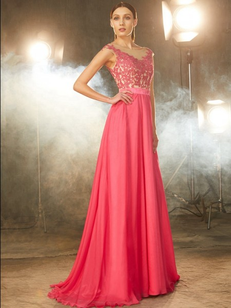 A-Line/Princess Sleeveless Sheer Neck Sweep/Brush Train Chiffon Dress with Applique