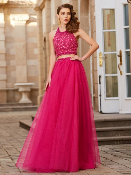A-Line/Princess Halter Sleeveless Tulle Floor-Length Two Piece Dress with Beading