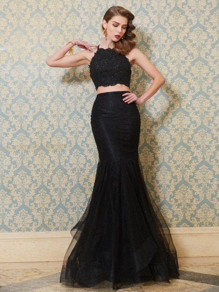 Trumpet/Mermaid Spaghetti Straps Sleeveless Floor-Length Tulle Two Piece Dress with Applique