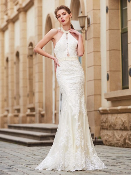 Sheath/Column Jewel Sleeveless Floor-Length Lace Dress with Applique