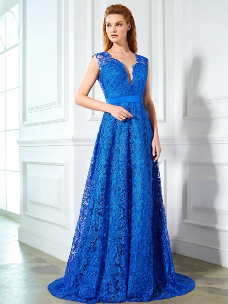 A-Line/Princess V-neck Sleeveless Sweep/Brush Train Lace Dress with Bowknot