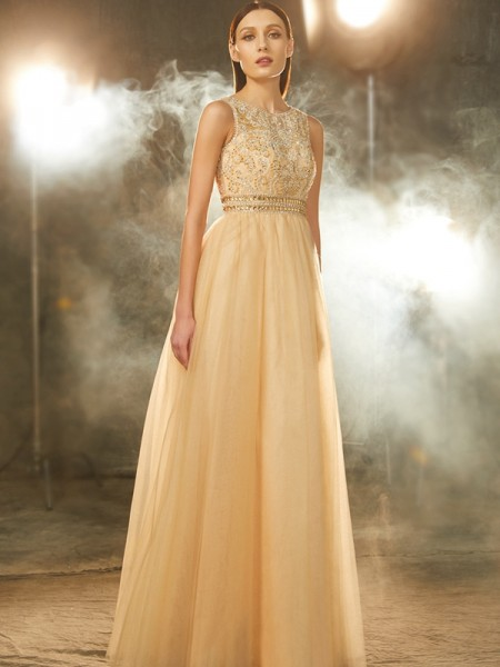 A-Line/Princess Scoop Sleeveless Floor-Length Tulle Dress with Beading