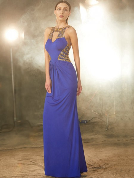 Sheath/Column Scoop Sleeveless Floor-Length Spandex Dress with Beading