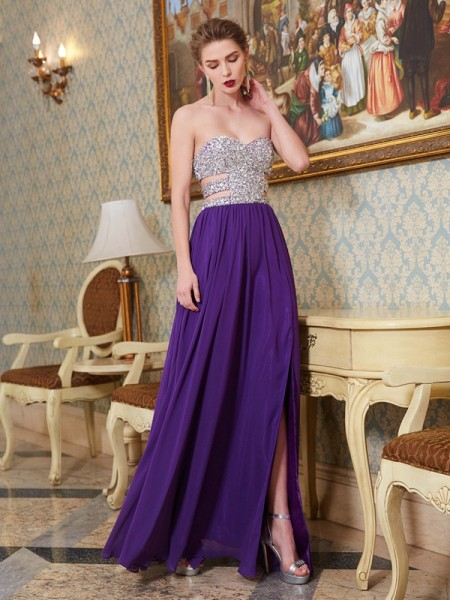A-Line/Princess Sweetheart Sleeveless Floor-Length Chiffon Dress with Crystal