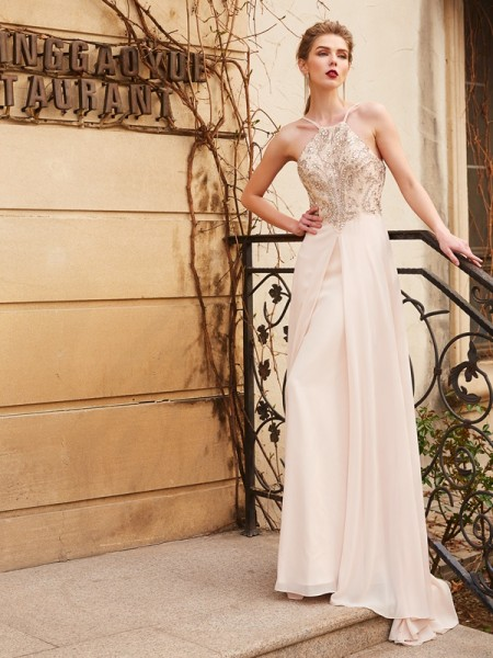A-line/Princess Spaghetti Straps Sleeveless Sweep/Brush Train Chiffon Dress with Beading