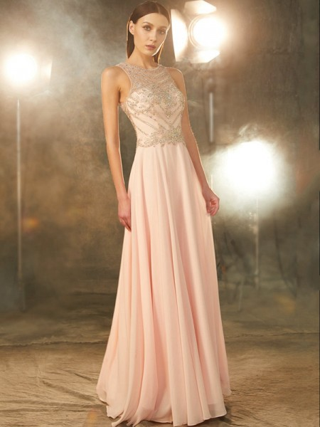 A-Line/Princess Scoop Sleeveless Chiffon Floor-length Dress with Crystal