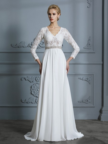 A-Line/Princess V-neck Sweep/Brush Train Chiffon Wedding Dresses with Lace