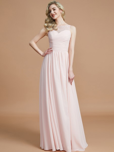 A-Line/Princess Bateau Floor-Length Chiffon Bridesmaid Dresses with Ruched