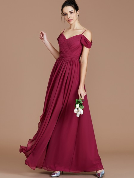 A-Line/Princess Off-the-Shoulder Floor-Length Chiffon Bridesmaid Dresses with Ruched