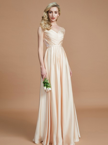 A-Line/Princess V-neck Floor-Length Chiffon Satin Bridesmaid Dresses with Ruched